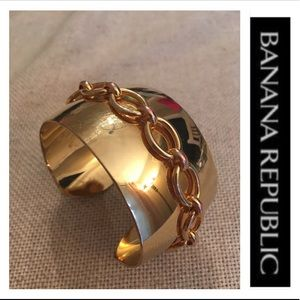 Banana Republic Goldtone Cuff with Chain Detail